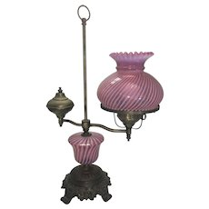 Brass & Cranberry Swirl Opalescent Glass Student Lamp Electric Fenton Shade