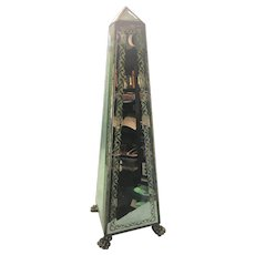 Nice Tall Vintage Bevel Mirror Obelisk W Bronze Paw Feet