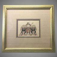 Early 20th C French Framed Litho Print Erotic Risque