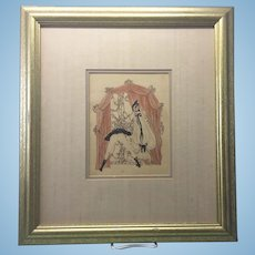 Early 20th C French Gilt Framed Litho Print Erotic Risque
