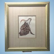 Early 20th C French Gilt Framed Litho Print Erotic