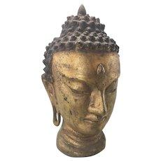 Vintage Asian Cast Iron Gilt Metal Buddha Bush Sculpture