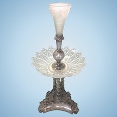 Silver Plate & Glass Columnar English Epergne Centerpiece W Three Pegasus Horse
