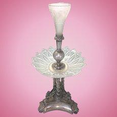 Silver Plate & Glass Columnar English Epergne Centerpiece W Three Pegasus Horse