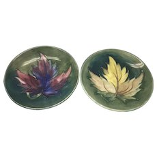 Pair Vintage Moorcroft Art Pottery Pin Trinket Dish W Leaves Leaf England