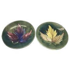 Pair Vintage Moorcroft Art Pottery Pin Trinket Dish W Leaves Leaf England