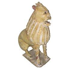 18th Or 19th C Italian Faience Majolica Pottery Lion Beast