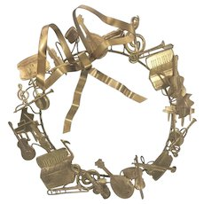 Vintage Dresden Brass Christmas Wreath Musical Instruments Petite Choses - Red Tag Sale Item