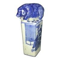 Vintage Chinese Blue & White Porcelain Wax Seal Stamp W Pig Hog Finial Scholar