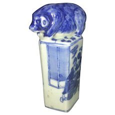 Vintage Chinese Blue & White Porcelain Wax Seal Stamp W Pig Hog Finial Scholar