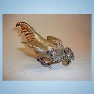 19th Century Edward Stockwell English Sterling Silver Rooster Pepper Pot