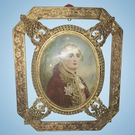 Antique German Portrait Miniature Of Louis XV King Of France Gilt Ormolu Frame
