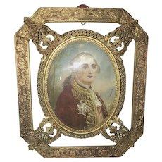 Antique German Portrait Miniature Of Louis XV King Of France Gilt Ormolu Frame