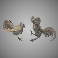 Vintage Silver Plate Fighting Rooster Cockerel Figurines Statues