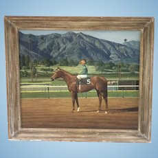 Large James Slick Painting Bill Shoemaker On Race Horse Goalie Santa Anita Track Listed