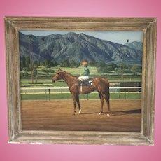 Large James Slick Painting Bill Shoemaker On Race Horse Goalie Santa Anita Track Listed