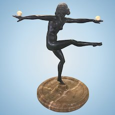Marcel Bouraine Bronze Nude Woman Balancing Sculpture Art Deco Marble Base