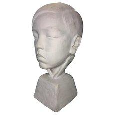1938 Eugene Gauss Plaster Maquette Sculpture Bust Young Asian Boy Listed Artist