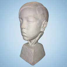 1938 Eugene Gauss Plaster Maquette Sculpture Bust Young Asian Boy Listed Artist
