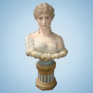 Victorian French Polychrome Enamel Porcelain Bisque Bust Young Woman Maiden Sheer Blouse