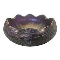 Art Nouveau Loetz Kralik Art Glass Threaded Irididescent Purple Rainbow Bowl