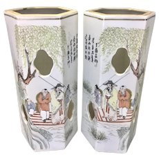 Vintage Pr Chinese Porcelain Mirrored Hat Stands Tongzhi Nian Zhi Mark Scholar Poetry Scene