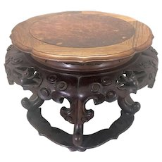 Old Chinese Huanghuali Hardwood Stand Plinth Stool