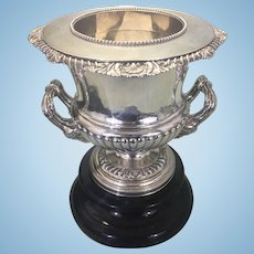 19th C Silver Plate T & J Creswick English Sheffield Wine Champagne Cooler Campagna Form Bucket W Stand