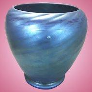 Carder Steuben Aurene Blue Iridescent Art Glass Vase
