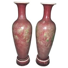 Pr Antique Chinese Peachbloom Porcelain Amphora Vases W Stands Kangxi Mark