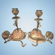 French Bronze Birds Sea Shell W Snails Aesthetic Period Candle Holders