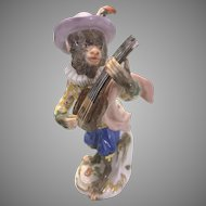 Old Meissen Porcelain Monkey Band Figurine As Is
