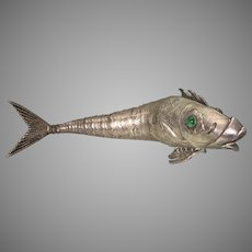 Vintage Silver Plate Articulated Fish W Green Stone Eyes Spain