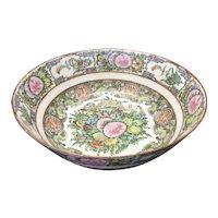 Antique Chinese Porcelain Famille Rose Canton Bowl Bird Butterflies