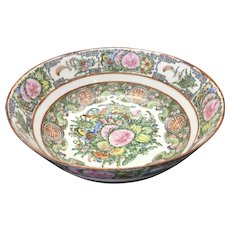 Antique Chinese Porcelain Famille Rose Canton Bowl Bird Butterflies