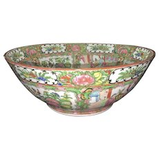 Antique Chinese Porcelain Famille Rose Canton Bowl Birds Palace Scenes Scholar