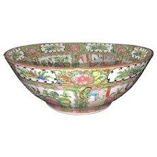 Antique Chinese Porcelain Famille Rose Canton Bowl Birds Palace Scenes Scholar