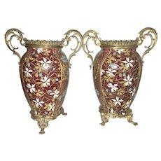 Vintage Gien France Majolica Porcelain Enameled Vase W Gilt Bronze Ormolu Mount French