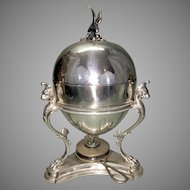 Silver Plate Egg Coddler Victorian English Eagle Finial Griffiin Paw Feet W Warmer