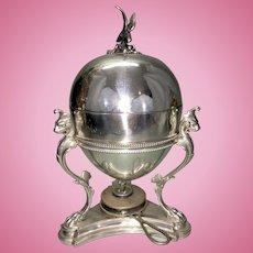Silver Plate Egg Coddler Victorian English Eagle Finial Griffiin Paw Feet W Warmer