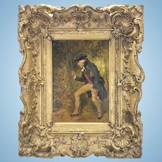 "19th C English Artist Henry Gillard Glindoni Painting Framed ""The Entomologist"""