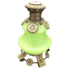 Uranium  French Grand Tour Palais Royale Satin Jade Glass Perfume Scent Bottle Ormolu Trim