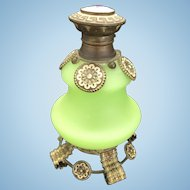 Antique French Grand Tour Palais Royale Satin Jade Glass Perfume Scent Bottle Ormolu Trim