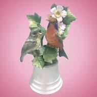 1950's Boehm Bisque Porcelain Nonpareil Buntings Birds W Butterfly Sculpture