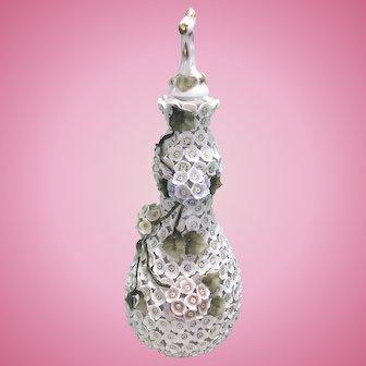 Vintage Dresden Porcelain Encrusted Floral Flower Barber Bottle
