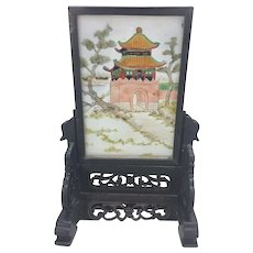 Vintage Chinese Hand Painted Glass Pagoda Temple Screen Plaque W Wood Stand