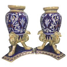 Pr Vintage Rubboli Guardo Italy Luster Majolica Pottery Urns W Griffin Feet