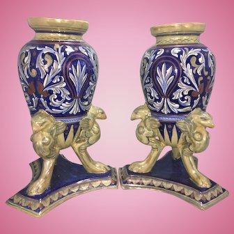 Pr Vintage Rubboli Guardo Italy Luster Majolica Pottery Urns W Griffin Feet