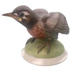 Boehm Bisque Porcelain Baby Robin Bird Figurine Signed 437 M