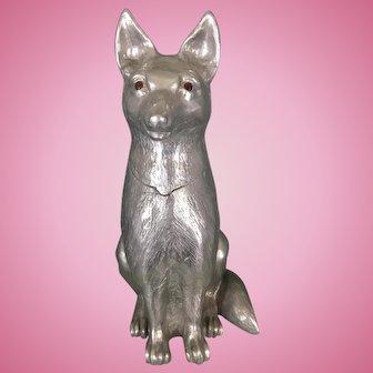 Vintage 1985 Arthur Court Aluminum Fox Dog Or Wolf Wine Bucket Cooler Sculpture